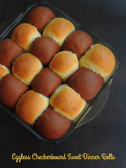 Eggless Checkerboard Sweet Dinner Rolls