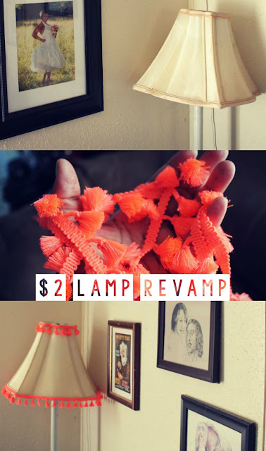 DIY $2 Lamp Revamp. Lampshade makeover. Bohemian home decor. Floor lamp makeover. Neon tassels. FIY bohemian home decor. Cheap bohemian DIY. Updating old lamps. Lamp redo ideas.
