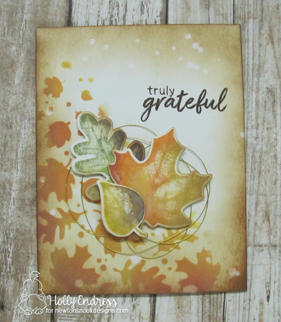 Fall Leaf Card by Holly Endress | Shades of Autumn Stamp Set and Falling Leaves Stencil by Newton's Nook Designs #newtonsnook #handmade