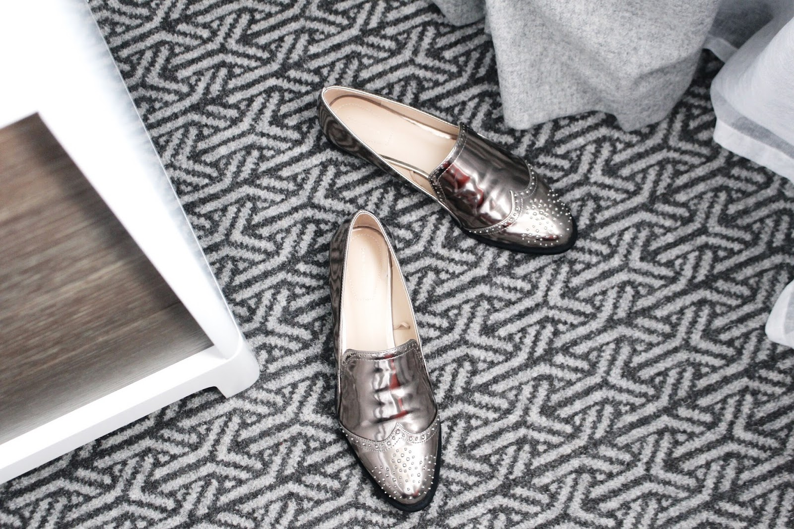 Zara Metallic Slip On Loafers