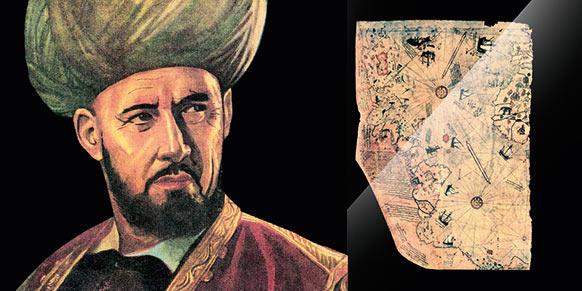 La carte de Piri Reis n'est que le fragment d'une carte plus grande représentant le monde connu à l'époque où elle a été réalisée, et dont le reste est aujourd'hui perdu. Selon Svat Soucek, cette carte aurait été présentée à Rüstem Pacha en 1517