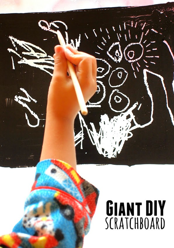 how to make giant scratchboard art with the kids