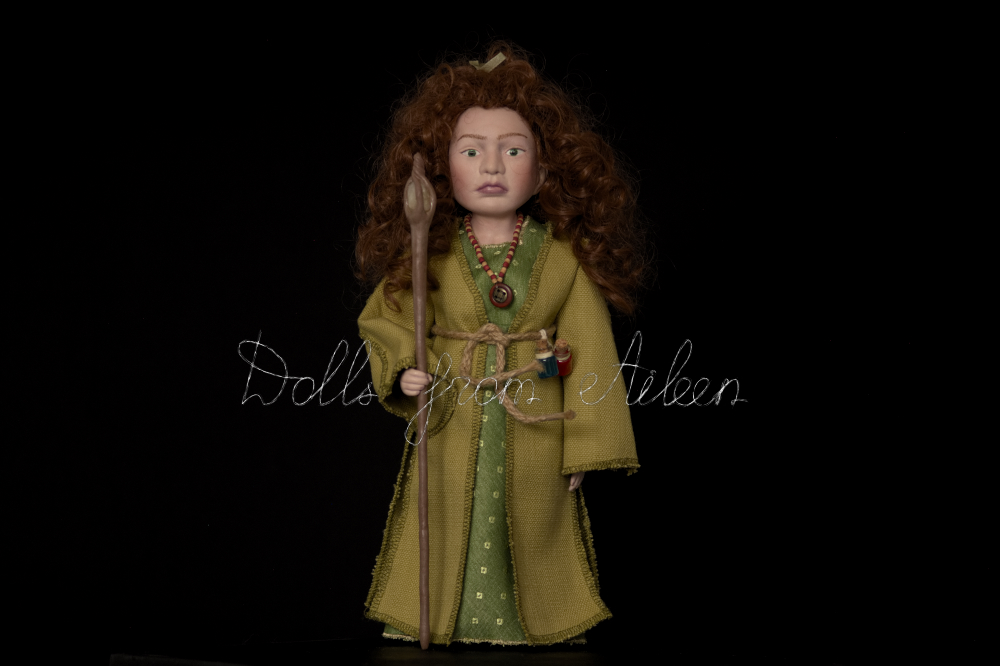 OOAK Celtic witch doll with curly hair