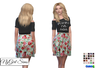 NyGirl Sims 4: Heart and Soul Floral Dress_Simlish