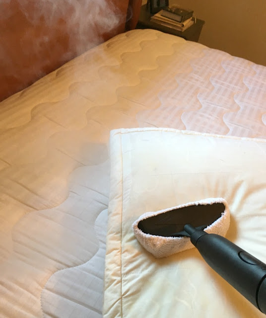 I am sharing my secret weapon for sanitizing the entire bed with HomeRight's Steam Machine, including the mattress and my tips on how to make your guest bedroom feel like home