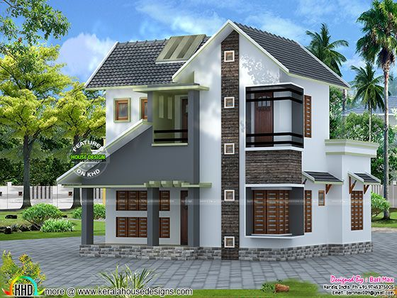Slope roof low cost home design