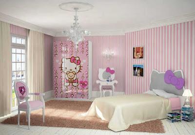 Warna Cat Kamar Tidur Anak Perempuan Hello Kitty