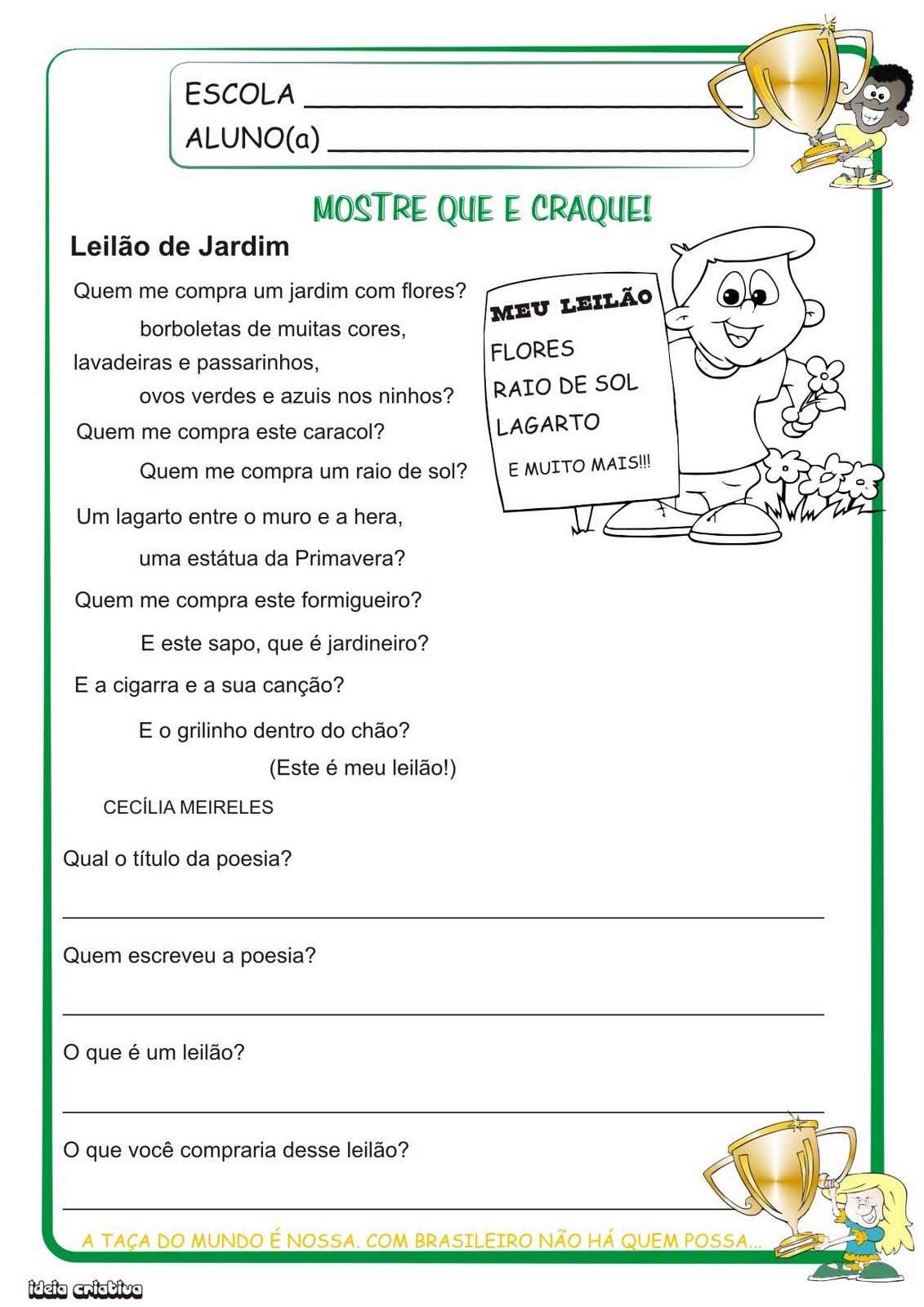 Atividade Língua Portuguesa 1° Ano Poesia da Pimavera
