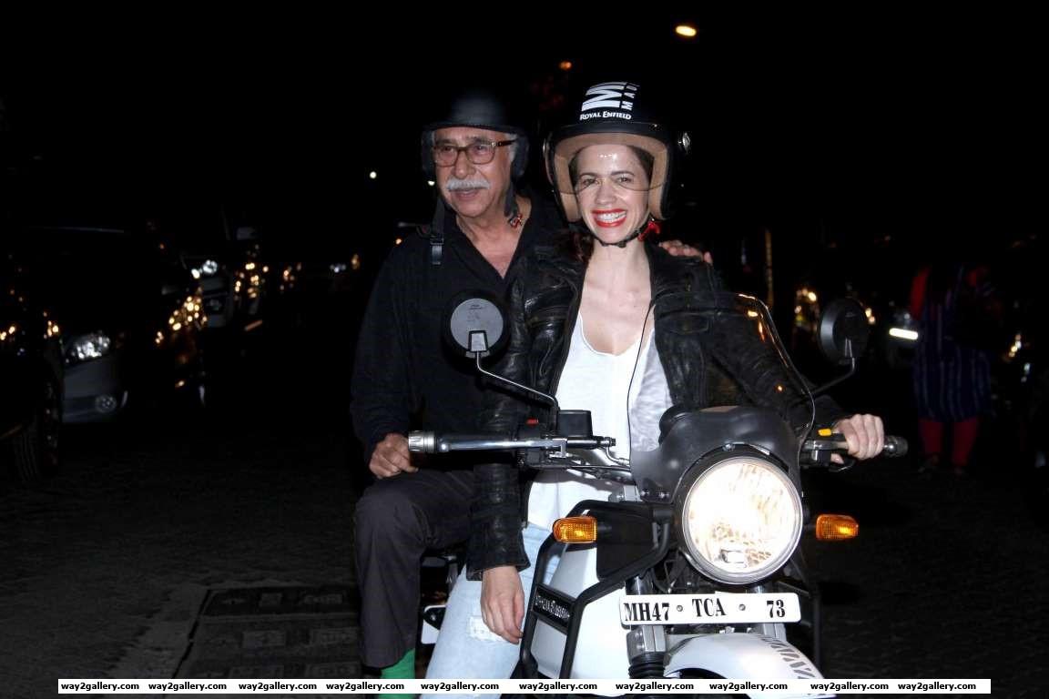 Naseeruddin Shah and Kalki Koechlin arrive for the screening of their film Waiting in Mumbai