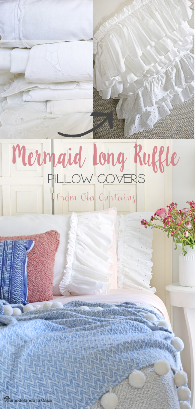 shabby chic bedroom with long mermaid ruffled pillow covers