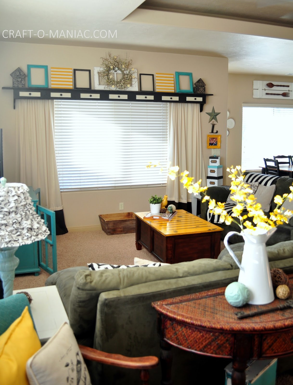 Home Decor My Turquoise and Yellow Family Room  CraftOManiac