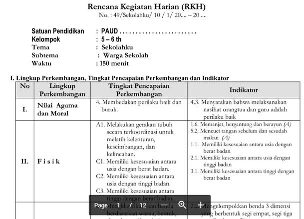 RKH PAUD 5-6 Tahun Tema Sekolahku Kurikulum 2013