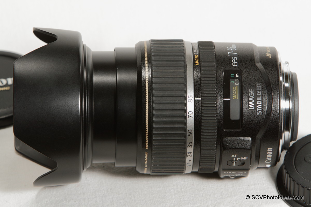 Canon EF-S 17-85mm F/4.0-5.6 IS USM - w/ EW-73B hood top view