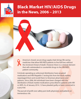 "Report Cover: ""Black Market HIV/AIDS Drugs in the News, 2006-2013"" with the AIDS Red Ribbon next to a spoon full of prescription drugs."