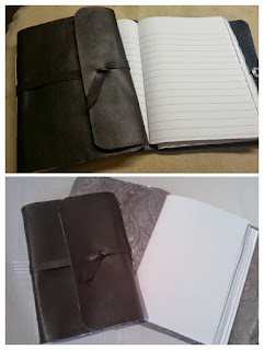 Handmade faux leather notebooks