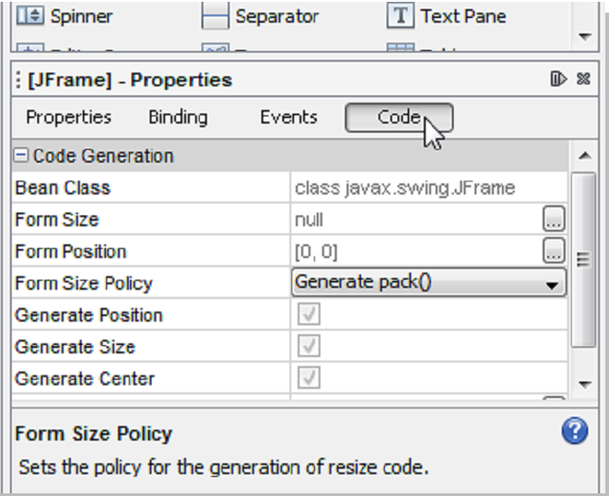 Pestaña Code de la ventana propiedades del JFrame