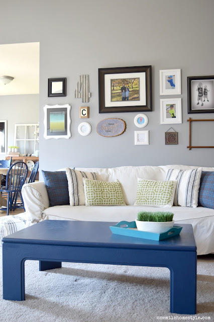 Granite Grey Living Room with Navy Blue Accents - One Mile Home Style