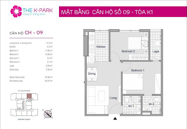 Thiết kế căn hộ số 09 tòa k1