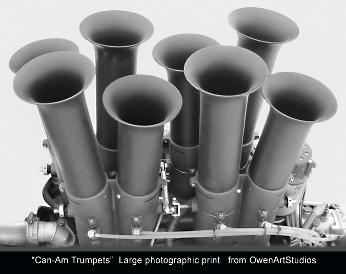 Vintage racing photo print of big block chevy V-8 Can Am velocity stacks from Owen Art Studios Beacham Owen aka Beach Owen