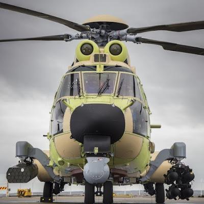 H225M equipado con lanzacohetes de 70mm y misiles Hellfire  © Eric Raz / Airbus Helicopters