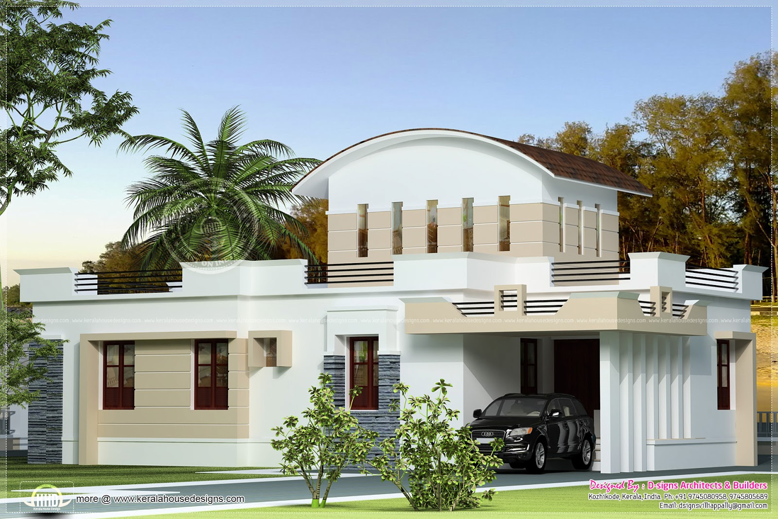 Small budget kerala home with staircase room kerala home for Small house images in kerala