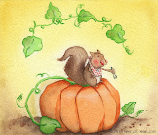 Whimsical Squirrel on Pumpkin Illustration Art by Tawnya Boe