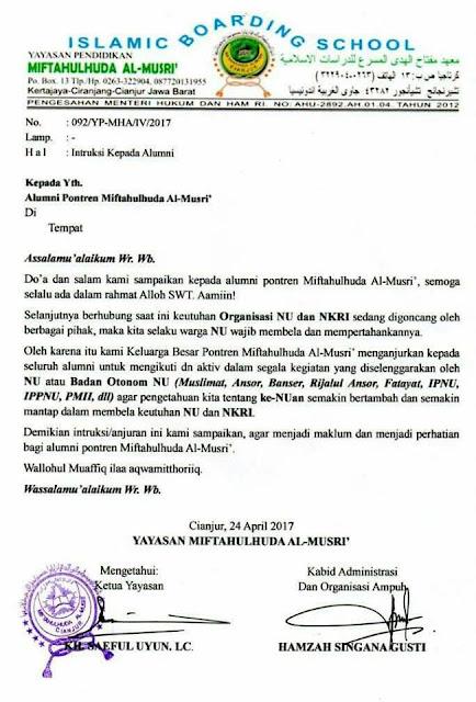 Ponpes Miftahul Huda Al-Musri Cianjur Wajibkan Alumninya Bela NU dan NKRI