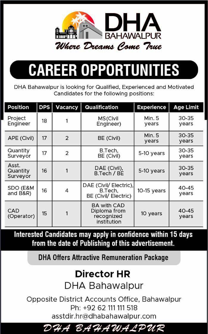 DHA Bahawalpur Jobs Opportunities 25 April 2019