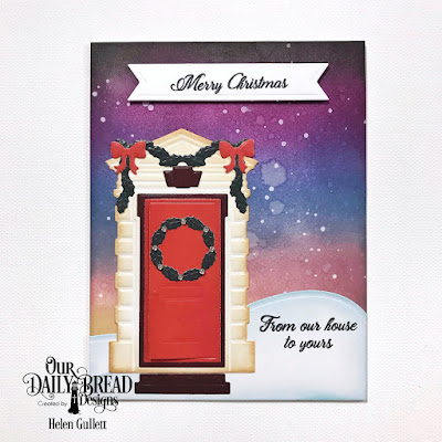 Our Daily Bread Designs Stamp Set: We've Moved, Custom Dies: Welcoming Door, Christmas Door Greenery, Curvy Slopes, Pennant Flags, Paper Collection: Christmas 2017