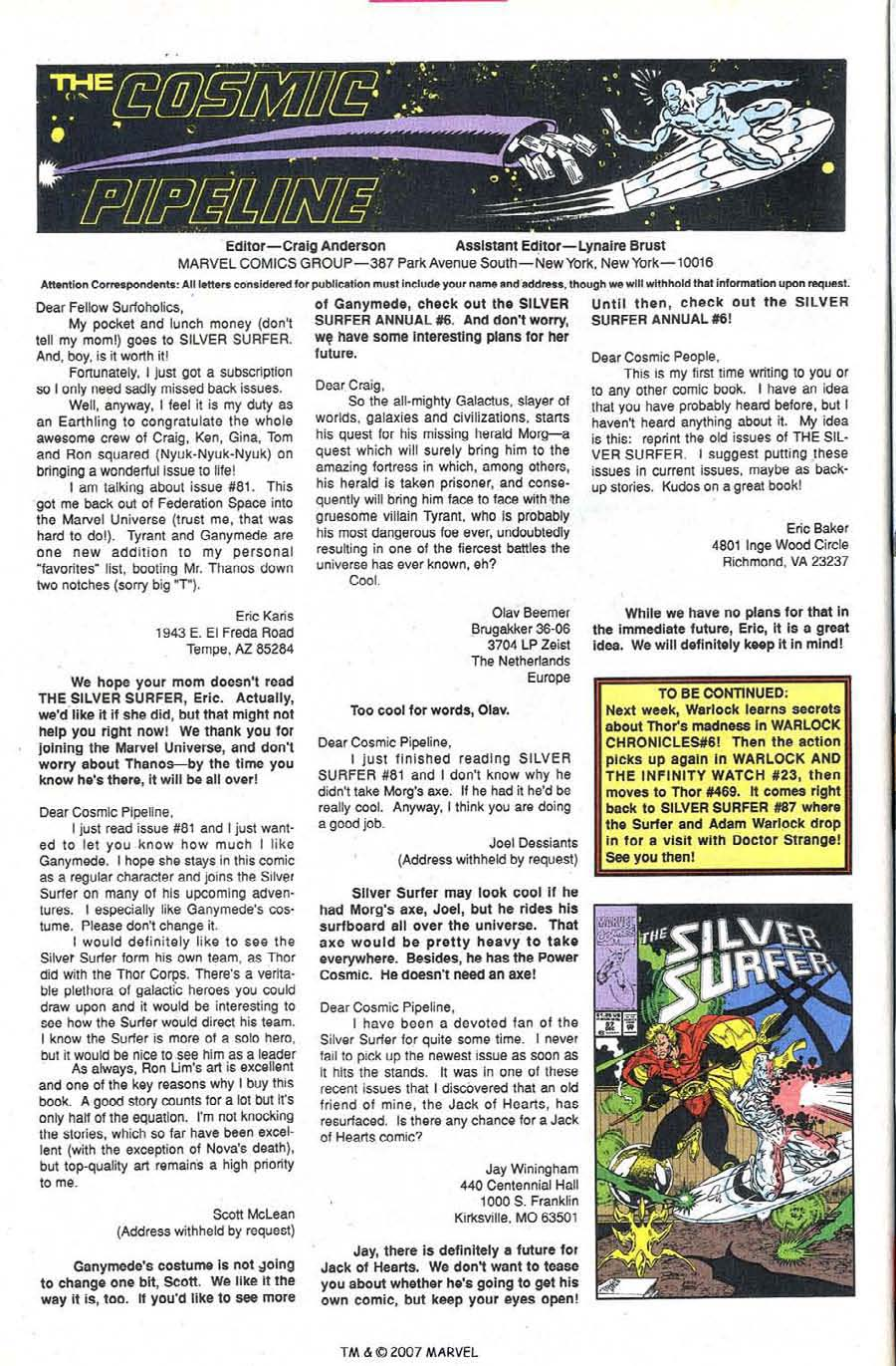Read online Silver Surfer (1987) comic -  Issue #86 - 34