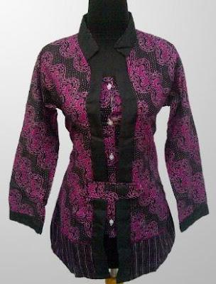 baju batik kerja wanita kombinasi terbaru