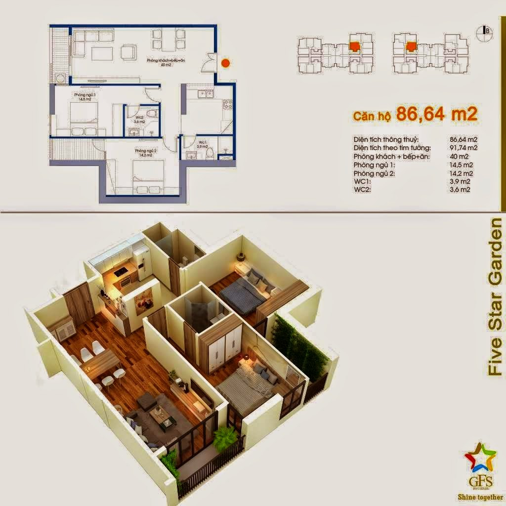Căn 86,64 m2