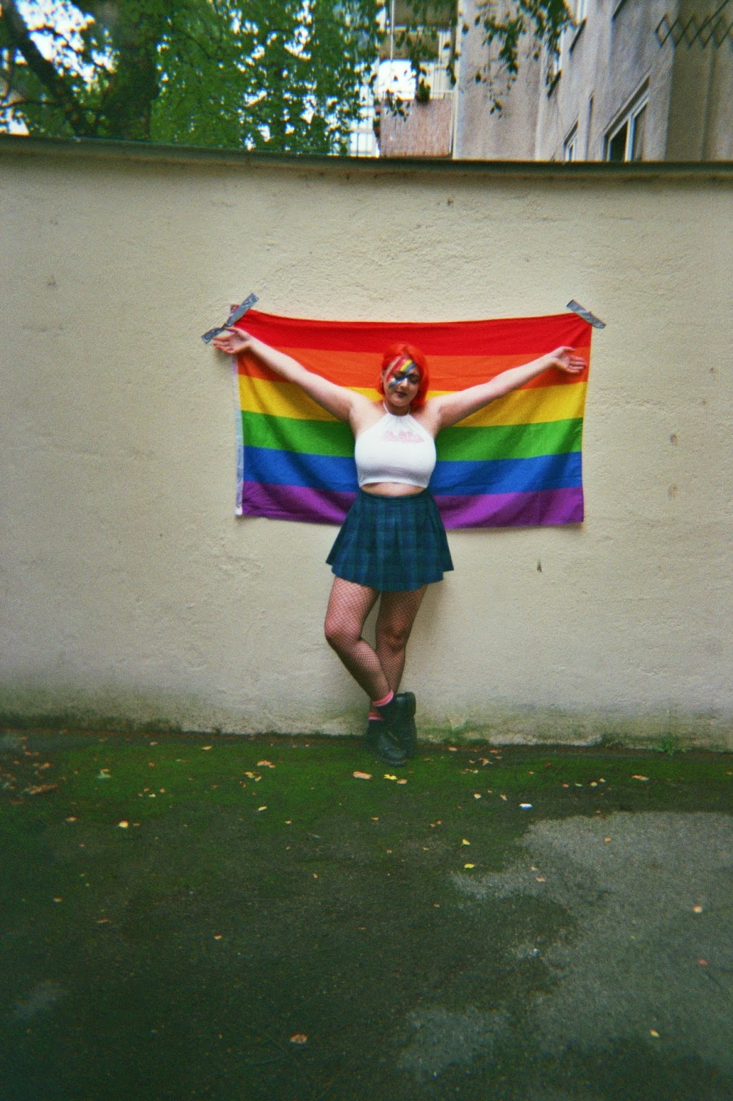 girl with rainbow gay pride flag