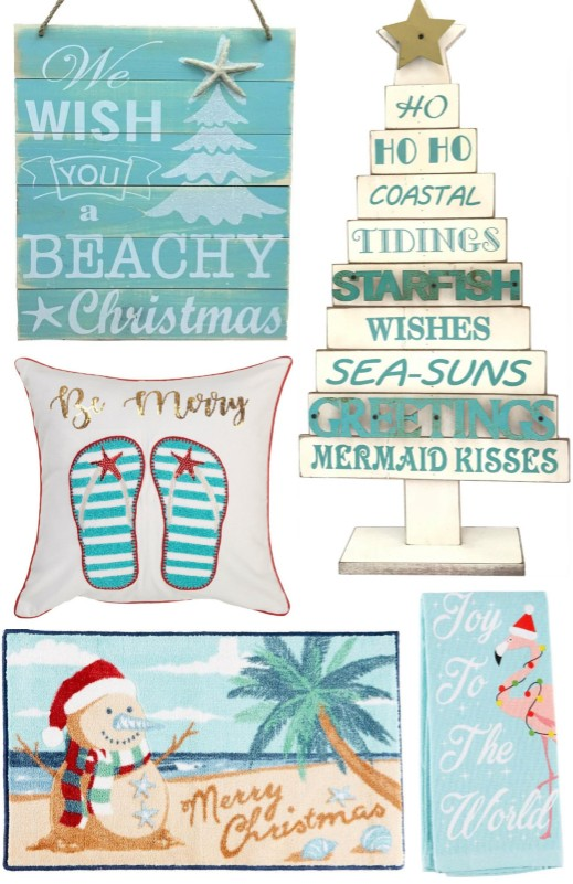 Coastal Beach Tropical Christmas Decor & Ornaments