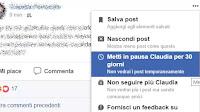 Nascondere da Facebook i post di qualcuno per 30 giorni