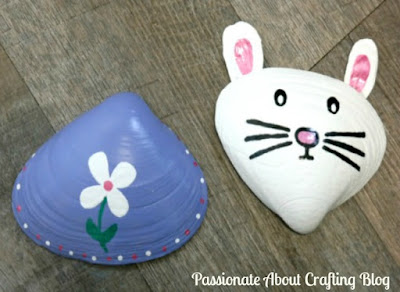 Kid's Crafts Painted Easter Bunny and Spring Flowers Seashell Designs