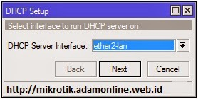 Pilih interface DHCP Server