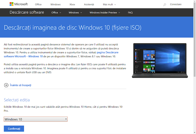 Pagina Microsoft pentru download fișiere ISO Windows 8 și Windows 10
