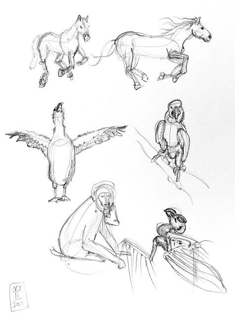 Daily Art 10-11-17 gesture studies of animals