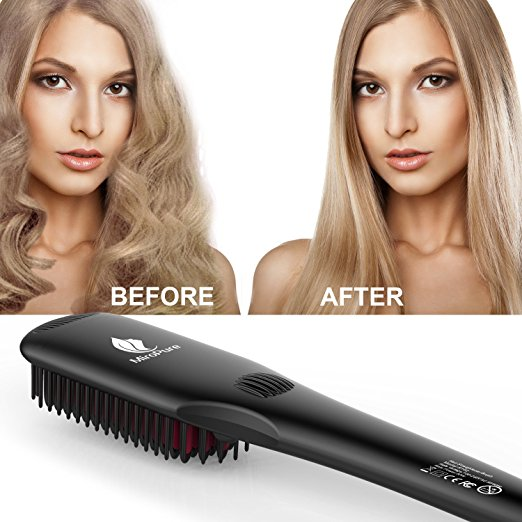 Miropure Hair Straightener Brush With Heat Resistance Glove