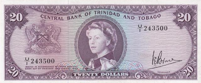 Trinidad and Tobago Dollars banknotes, Queen Elizabeth world paper money