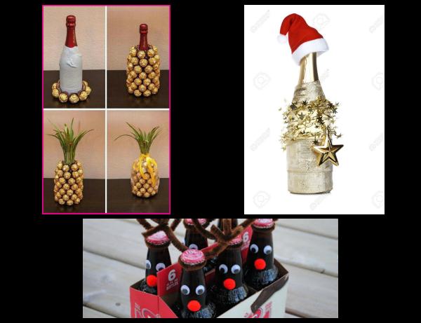 """DIY Gift Idea: """"Pineapple"""" Wine or Reindeer Bottles"""