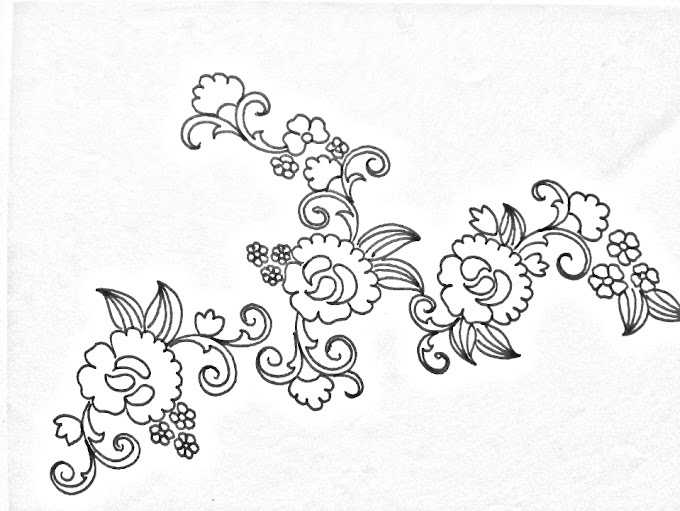 Hand embroidery design -07 | How to draw an easy florals design for hand embroidery