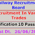 Western Railway – Recruitment of 557 Nos. in various Trades. Last Dt. 26/06/2016