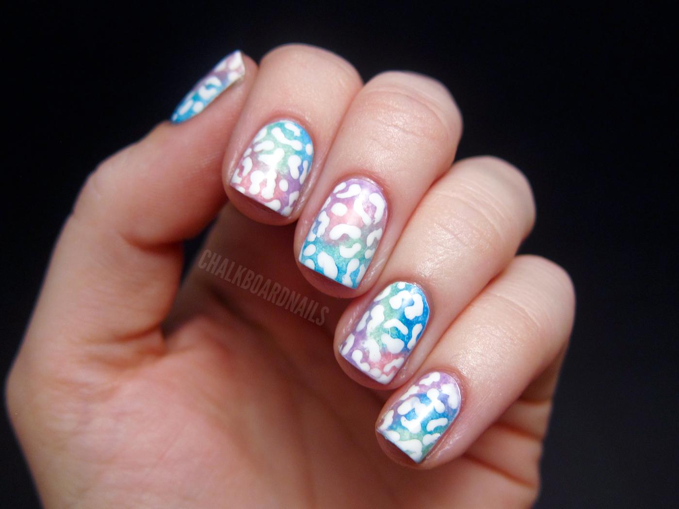Pastel leopard print | Chalkboard Nails | Nail Art Blog