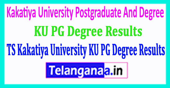 Telangana TS Kakatiya University KU PG And Degree Results 2018 Download