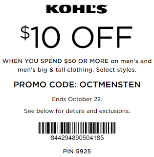 Kohls coupon $10 off $50 Men's and Men's Big Tall clothing