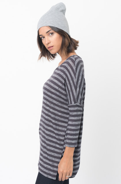 Shop for Charcoal Striped long sleeve pullover crew neck Tunic Online - $38 - on caralase.com