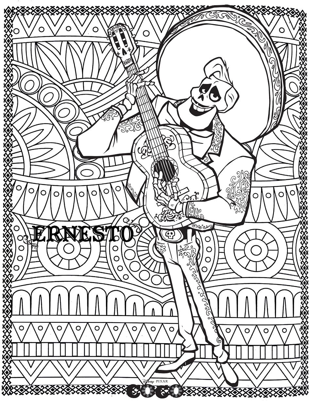Pinto Dibujos: Coco para colorear   Pelicula coco mandala para niños