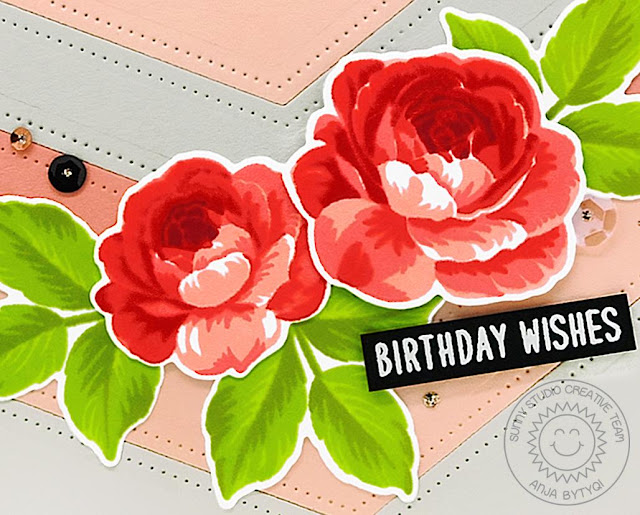 Sunny Studio Stamps: Everything's Rosy Fishtail Banners Birthday Card by Anja Bytyqi